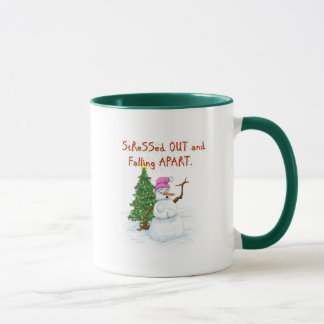 Funny Christmas cartoon of lady snowman Mug