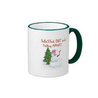 Funny Christmas cartoon of lady snowman Ringer Mug