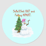 Funny Christmas cartoon of lady snowman Sticker