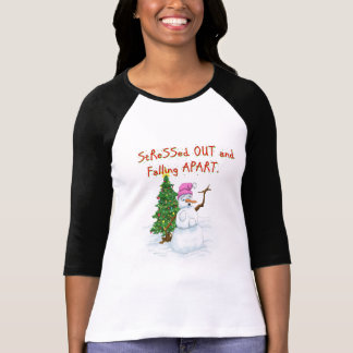 Funny Christmas cartoon of lady snowman T-Shirt