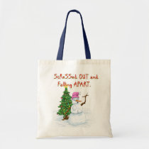 Funny Christmas cartoon of lady snowman Tote Bag