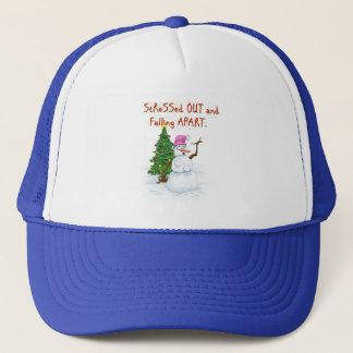 Funny Christmas cartoon of lady snowman Trucker Hat