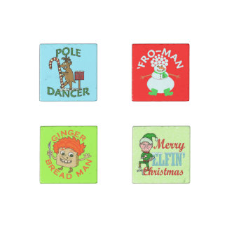Funny Christmas Cartoon Pun Collection Stone Magnet