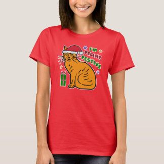 Funny Christmas Cat Feline Festive Pun Holiday T-Shirt