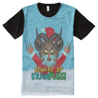 Funny Christmas Cat Humor Krampuss Holidays Pun All-Over-Print T-Shirt