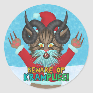 Funny Christmas Cat Humor Krampuss Holidays Pun Classic Round Sticker