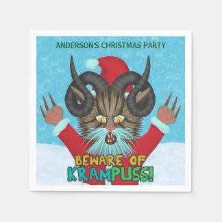 Funny Christmas Cat Humor Krampuss Holidays Pun Napkin