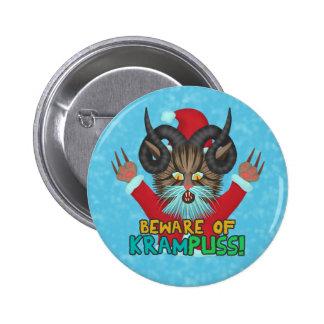 Funny Christmas Cat Humor Krampuss Holidays Pun Pinback Button