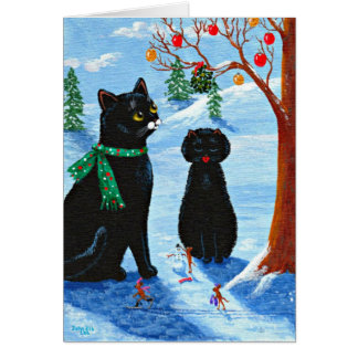 Funny Christmas Cat Mouse Creationarts Card