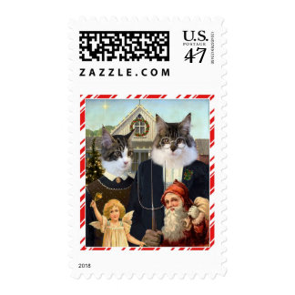 Funny Christmas Cat spoof postage stamps