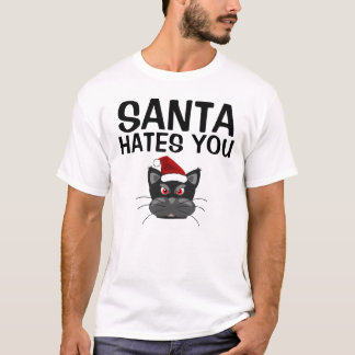 Funny Christmas Cat T-shirts , Santa hates you