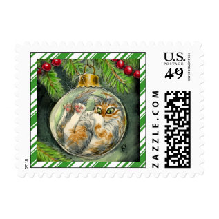 Funny Christmas cat with candy cane border Postage at Zazzle