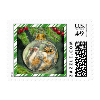 Funny Christmas cat with candy cane border Postage