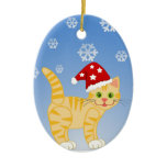 Funny Christmas Cat yellow Snowflakes Double-Sided Oval Ceramic Christmas Ornament