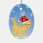 Funny Christmas Cat yellow Snowflakes Ornaments