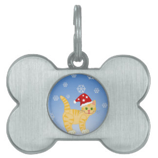 Funny Christmas Cat yellow Snowflakes Pet Tag