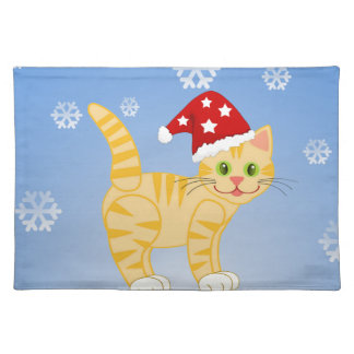 Funny Christmas Cat yellow Snowflakes Placemat