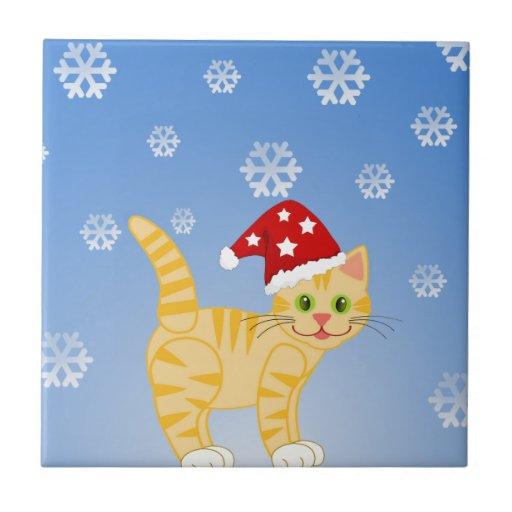 Funny Christmas Cat yellow Snowflakes Tiles