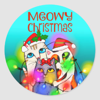 Funny Christmas Cats and Holiday Bulbs Sticker