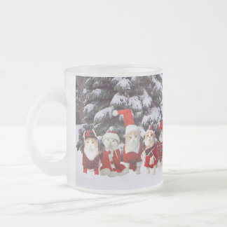 Funny Christmas Cats Frosted Glass Coffee Mug
