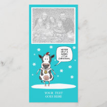 Funny Christmas cow customizable photo card