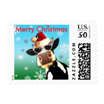 Funny Christmas Cow Wearing Santa Hat Postage