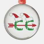 Funny Christmas Cross Country Running Round Metal Christmas Ornament