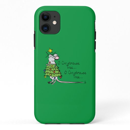 Funny Christmas Cute Mouse Tree Cartoon iPhone 11 Case