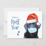 """Funny Christmas Cute Pawsitive Santa Dog Ruff Year Holiday Card<br><div class=""""desc"""">It's been a Ruff Year ! Add a little humor and send Pawsitive Holiday wishes with this adorable and funny 'It's been a Ruff Year' - Black Labrador Santa Dog Christmas Card . Back : Pawsitive Wishes ... and a Brighter New Year. Personalize with your name, or delete to handwrite...</div>"""