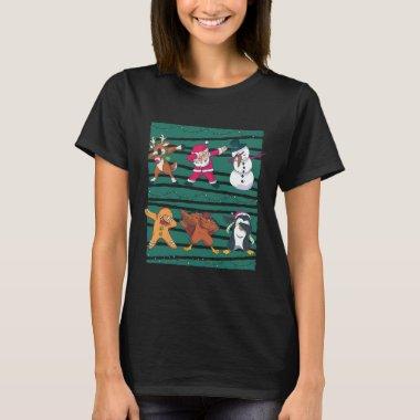 Funny Christmas Dabbing Animals Line Dancing T-Shirt