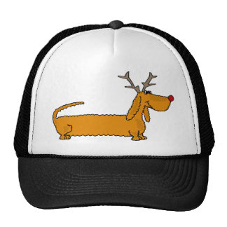 Funny Christmas Dachshund as Reindeer Trucker Hat