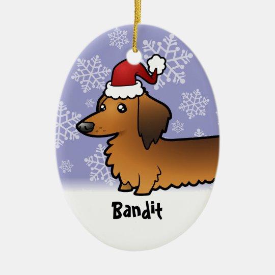 Funny Christmas Dachshund (longhair) Ceramic Ornament
