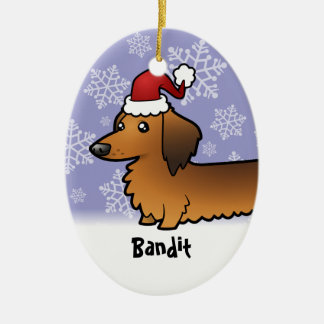Funny Christmas Dachshund longhair Ornament