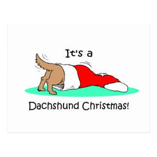 Funny Christmas Dachshund Postcard