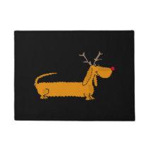 Funny Christmas Dachshund Reindeer Doormat