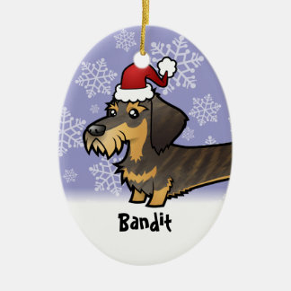 Funny Christmas Dachshund (wirehair) Ceramic Ornament