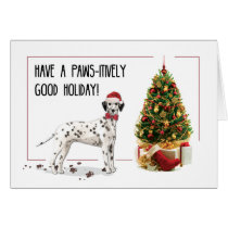 Funny Christmas Dalmation Dog and Tree