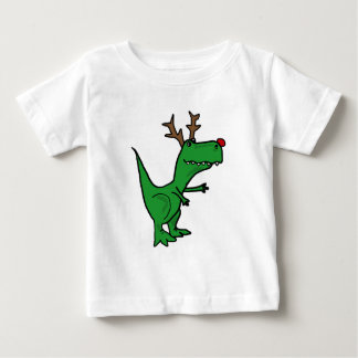 Funny Christmas Dinosaur as Reindeer Baby T-Shirt