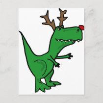 Funny Christmas Dinosaur as Reindeer Holiday Postcard