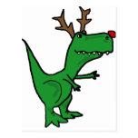 Funny Christmas Dinosaur as Reindeer Postcard