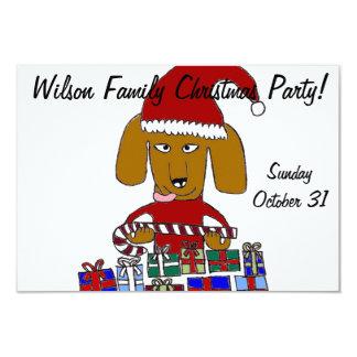 Funny Christmas Dog 3.5x5 Paper Invitation Card