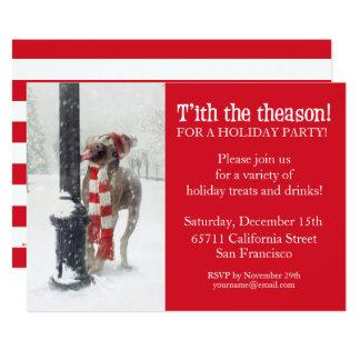 Funny Christmas Dog Licks Pole Invite