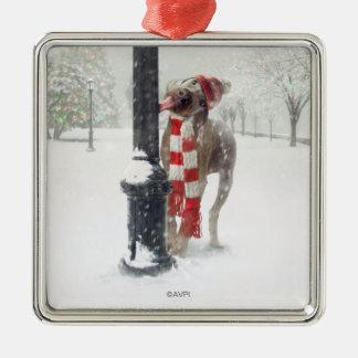 Funny Christmas Dog Licks Pole Metal Ornament