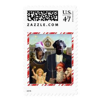 Funny Christmas Dog spoof postage stamps
