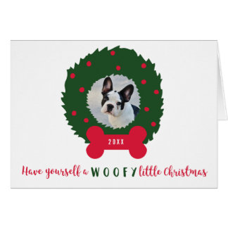 Funny Christmas Dog with Dog's Photo & Wreath Card