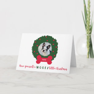 funny christmas dog with dogs photo wreath holiday card