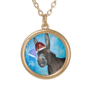 Funny christmas donkey with christmas hat gold plated necklace