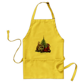 Funny Christmas drinking party cartoon art apron