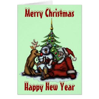 Funny Christmas drinking party cartoon art card