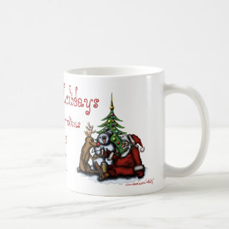 Funny Christmas drinking party cartoon art mug